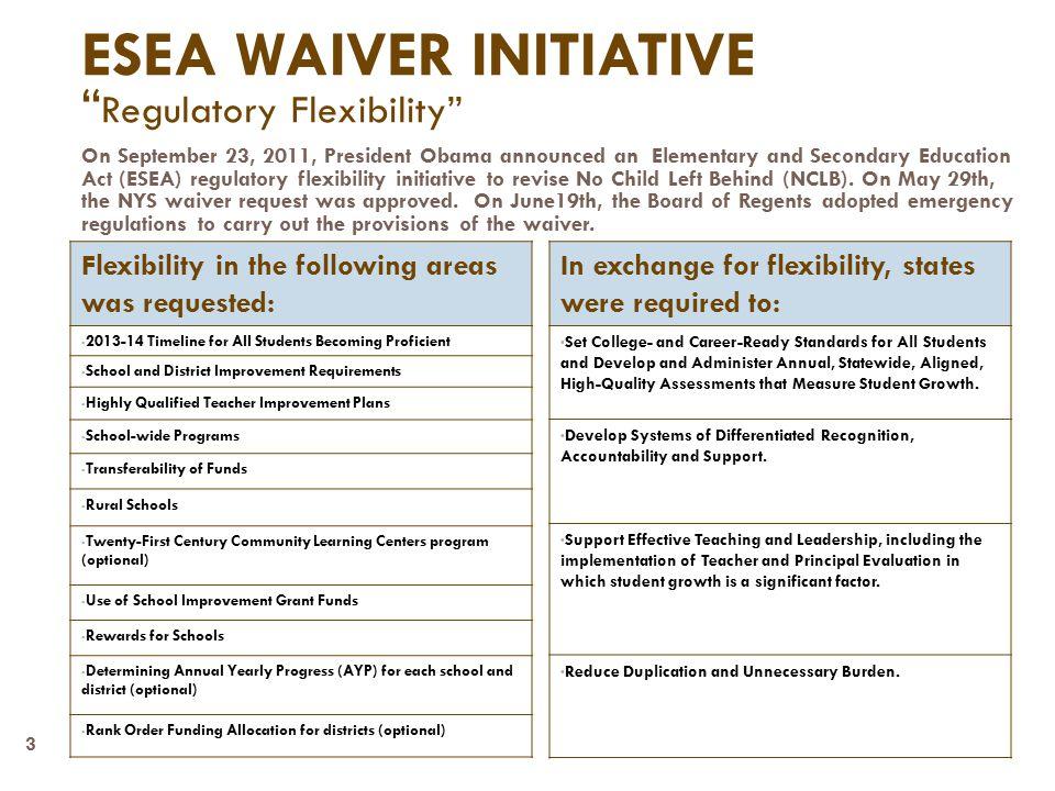 4 ESEA Flexibility Request Big Picture Overview of ESEA Waiver 1.