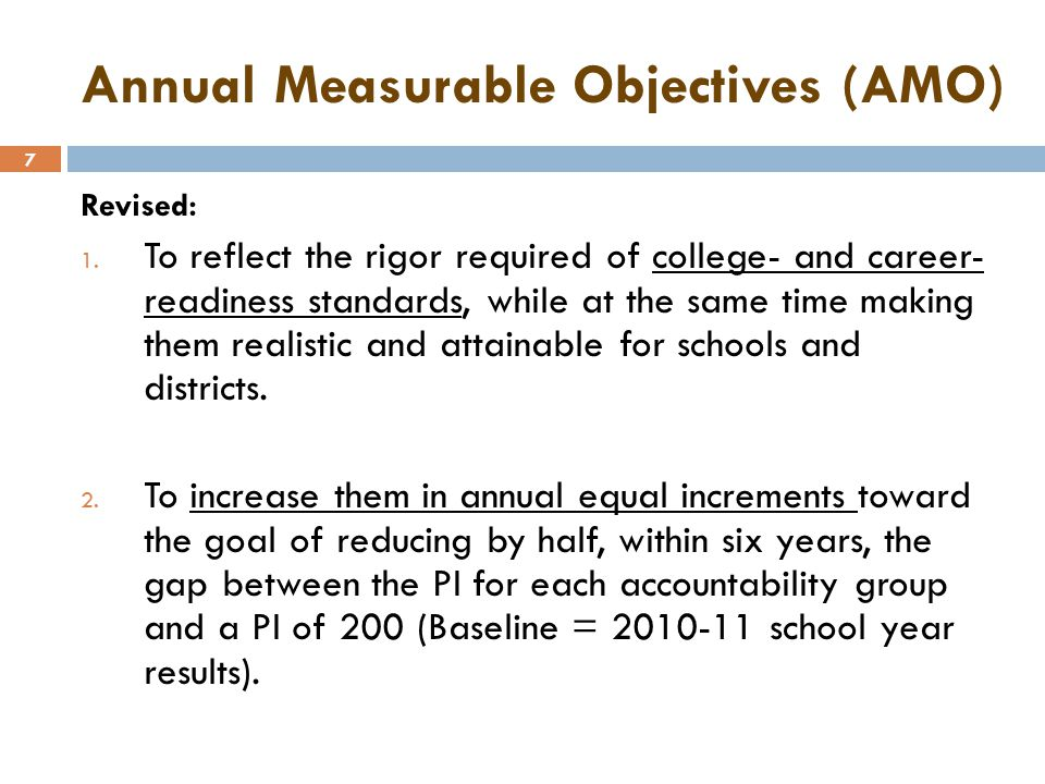 8 Annual Measurable Objectives (AMO) Targets by Year MeasureGroup 2010 - 2011 Baseline 2011 - 2012 2012 - 2013 2013 - 2014 2014 - 2015 2015 - 2016 2016 - 2017 Subject and Grade LevelAccountable Group Grades 3-8 ELA All Students146150155159164168173 Students with Disabilities92101110119128137146 American Indian/Native American132137143149154160166 Asian or Pacific Islander162165169172175178181 Black (not Hispanic)123130136143149155162 Hispanic126132138144151157163 White160164167170174177180 English Language Learners102110118126134143151 Economically Disadvantaged128134140146152158164 Mixed Race154158162166170173177 NOTE: The subgroup with the lowest PI in 2010-11, in this case students with disabilities (SWD), must meet the All Students PI from 2010-11 in 2016-17.