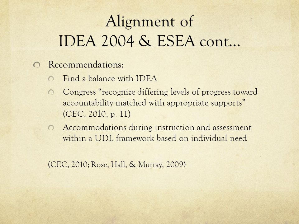 Alignment of IDEA 2004 & ESEA cont...