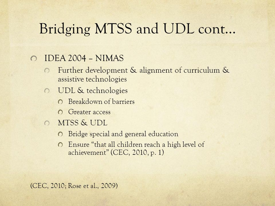 Bridging MTSS and UDL cont...