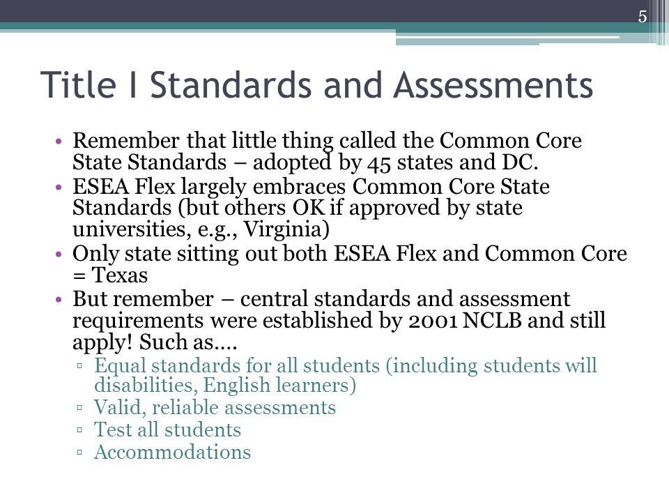 Title I Standards and Assessments Remember that little thing called the Common Core State Standards – adopted by 45 states and DC.