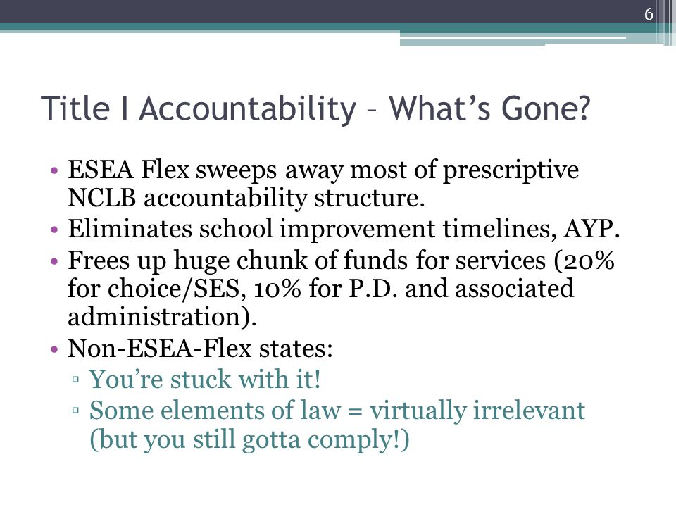 Title I Accountability – What Replaces It.Differentiated Accountability.