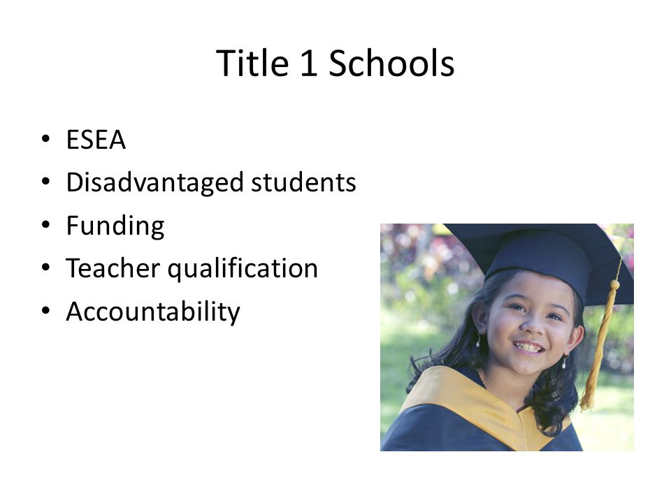 Title 1 Schools ESEA Disadvantaged students Funding Teacher qualification Accountability