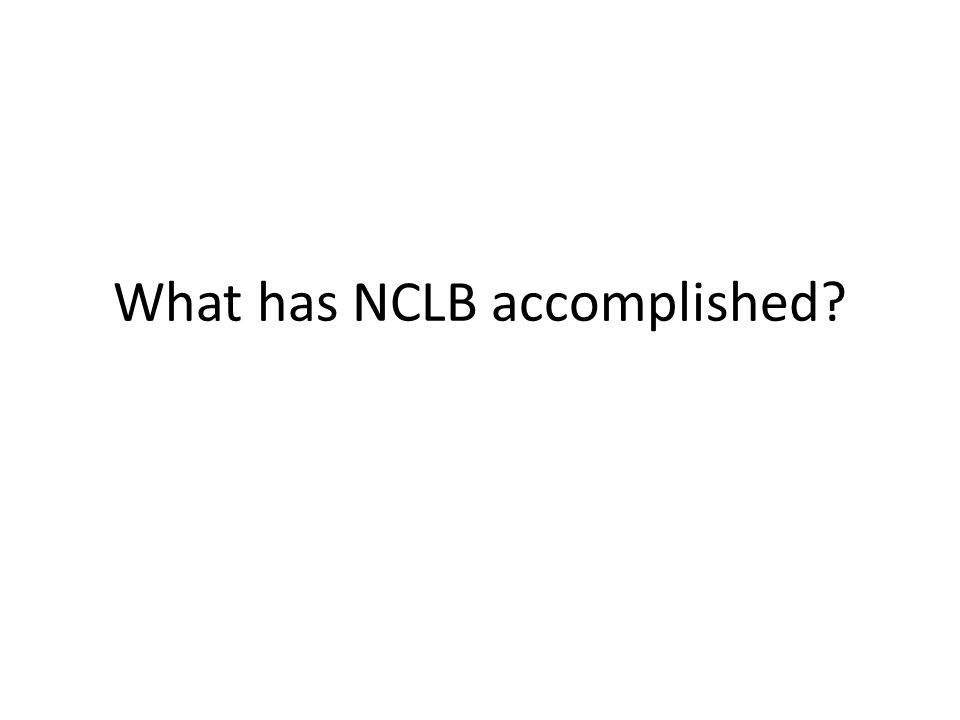What has NCLB accomplished