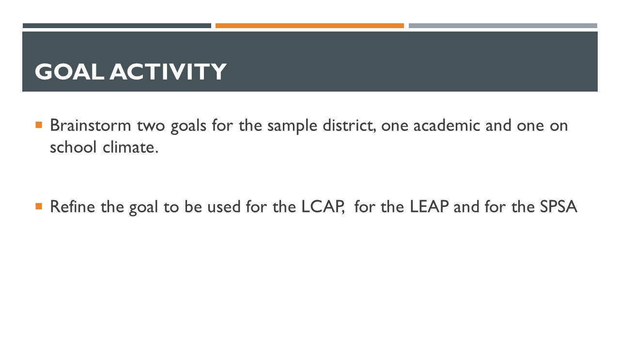 GOAL ACTIVITY  Brainstorm two goals for the sample district, one academic and one on school climate.