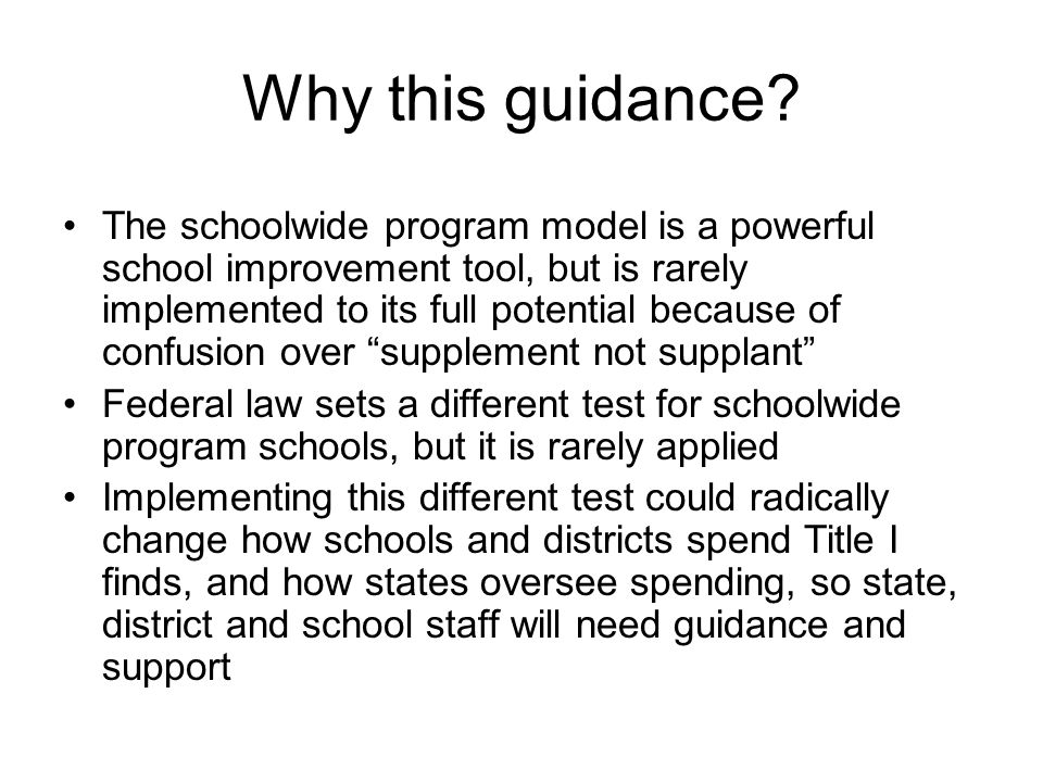 Why this guidance.