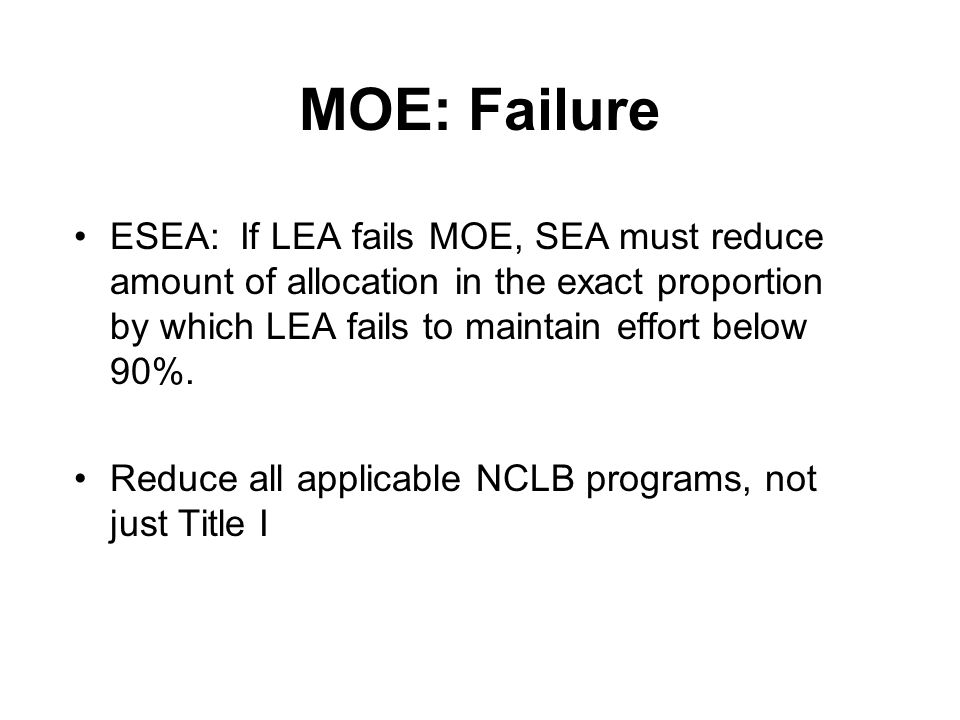 Example 2 (cont) Result –This scenario does not violate the supplemental funds test (but is likely to get scrutinized) –The supplemental funds test looks at the overall level of resources going into a school, and not for supplementary services –Here, the Title 1 Schools have extra resources non-Title I schools do not have »The non-Title1 schools had to cut other costs in order to retain the teacher FTEs with state and local funds, cuts Title 1 schools did not have to make.