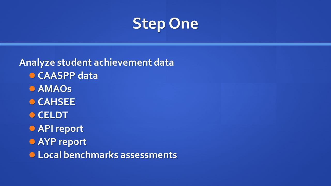 Step One Analyze student achievement data CAASPP data CAASPP data AMAOs AMAOs CAHSEE CAHSEE CELDT CELDT API report API report AYP report AYP report Local benchmarks assessments Local benchmarks assessments