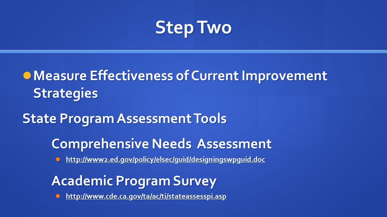 Step Two Measure Effectiveness of Current Improvement Strategies Measure Effectiveness of Current Improvement Strategies State Program Assessment Tools Comprehensive Needs Assessment http://www2.ed.gov/policy/elsec/guid/designingswpguid.doc http://www2.ed.gov/policy/elsec/guid/designingswpguid.doc Academic Program Survey http://www.cde.ca.gov/ta/ac/ti/stateassesspi.asp http://www.cde.ca.gov/ta/ac/ti/stateassesspi.asp
