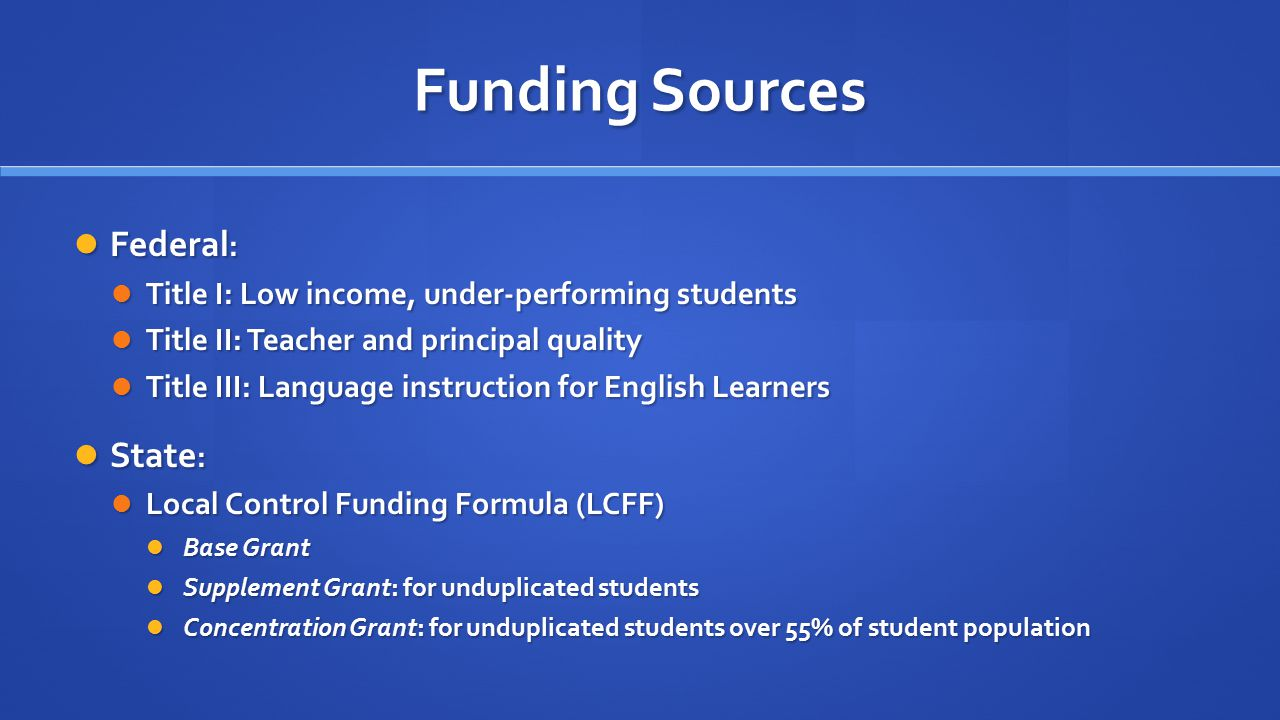 Funding Sources Federal : Federal : Title I: Low income, under-performing students Title I: Low income, under-performing students Title II: Teacher and principal quality Title II: Teacher and principal quality Title III: Language instruction for English Learners Title III: Language instruction for English Learners State : State : Local Control Funding Formula (LCFF) Local Control Funding Formula (LCFF) Base Grant Base Grant Supplement Grant: for unduplicated students Supplement Grant: for unduplicated students Concentration Grant: for unduplicated students over 55% of student population Concentration Grant: for unduplicated students over 55% of student population
