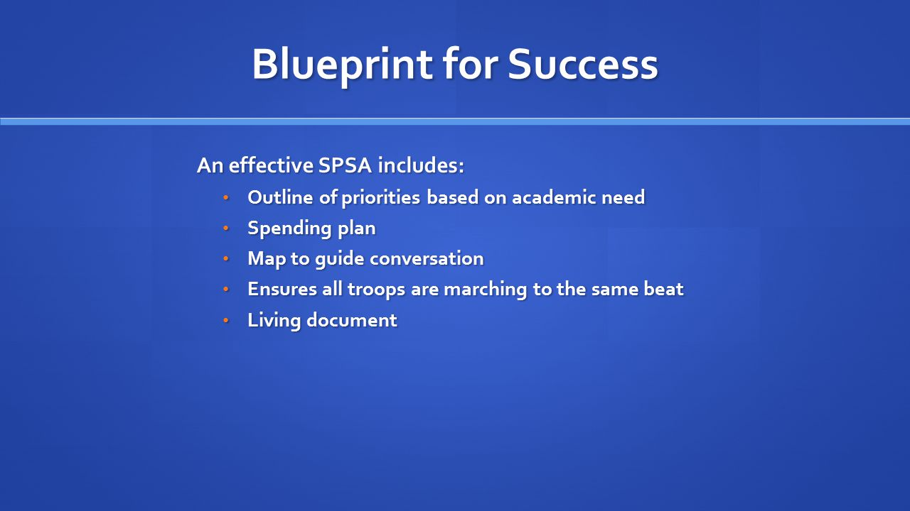 Blueprint for Success An effective SPSA includes: Outline of priorities based on academic need Outline of priorities based on academic need Spending plan Spending plan Map to guide conversation Map to guide conversation Ensures all troops are marching to the same beat Ensures all troops are marching to the same beat Living document Living document