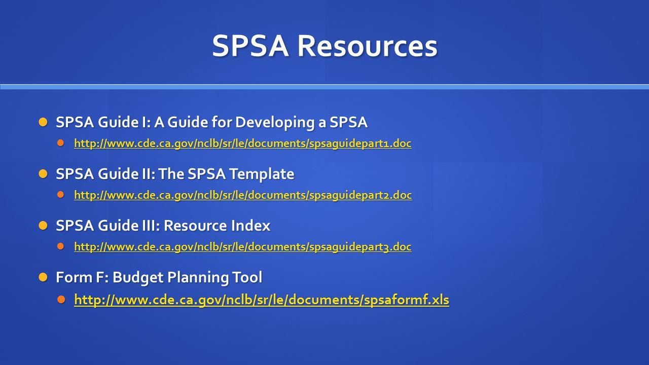 SPSA Resources SPSA Guide I: A Guide for Developing a SPSA SPSA Guide I: A Guide for Developing a SPSA http://www.cde.ca.gov/nclb/sr/le/documents/spsaguidepart1.doc http://www.cde.ca.gov/nclb/sr/le/documents/spsaguidepart1.doc http://www.cde.ca.gov/nclb/sr/le/documents/spsaguidepart1.doc SPSA Guide II: The SPSA Template SPSA Guide II: The SPSA Template http://www.cde.ca.gov/nclb/sr/le/documents/spsaguidepart2.doc http://www.cde.ca.gov/nclb/sr/le/documents/spsaguidepart2.doc http://www.cde.ca.gov/nclb/sr/le/documents/spsaguidepart2.doc SPSA Guide III: Resource Index SPSA Guide III: Resource Index http://www.cde.ca.gov/nclb/sr/le/documents/spsaguidepart3.doc http://www.cde.ca.gov/nclb/sr/le/documents/spsaguidepart3.doc http://www.cde.ca.gov/nclb/sr/le/documents/spsaguidepart3.doc Form F: Budget Planning Tool Form F: Budget Planning Tool http://www.cde.ca.gov/nclb/sr/le/documents/spsaformf.xls http://www.cde.ca.gov/nclb/sr/le/documents/spsaformf.xls http://www.cde.ca.gov/nclb/sr/le/documents/spsaformf.xls