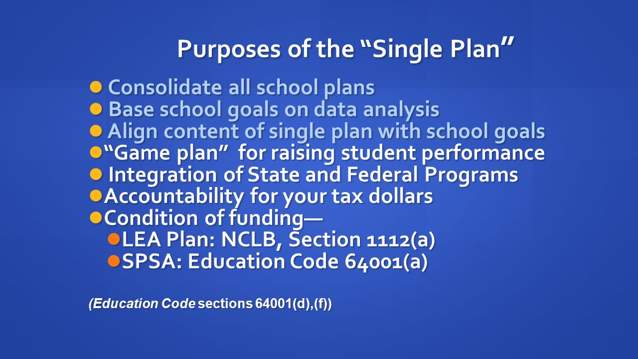 Purposes of the Single Plan Consolidate all school plans Consolidate all school plans Base school goals on data analysis Base school goals on data analysis Align content of single plan with school goals Align content of single plan with school goals Game plan for raising student performance Game plan for raising student performance Integration of State and Federal Programs Integration of State and Federal Programs Accountability for your tax dollars Accountability for your tax dollars Condition of funding— Condition of funding— LEA Plan: NCLB, Section 1112(a) LEA Plan: NCLB, Section 1112(a) SPSA: Education Code 64001(a) SPSA: Education Code 64001(a) (Education Code sections 64001(d),(f))