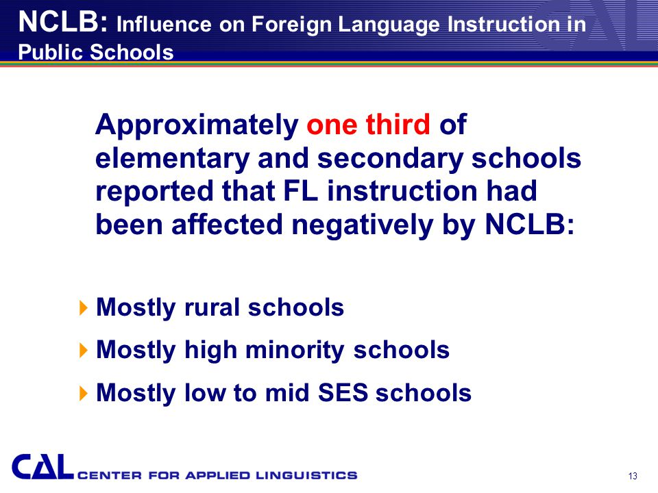 13 NCLB: Influence on Foreign Language Instruction in Public Schools Approximately one third of elementary and secondary schools reported that FL instruction had been affected negatively by NCLB:  Mostly rural schools  Mostly high minority schools  Mostly low to mid SES schools