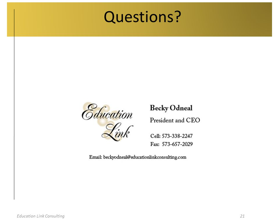 Education Link Consulting21 Questions?