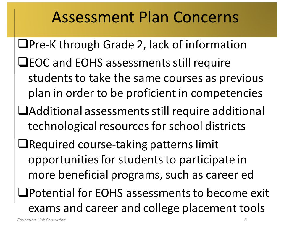 Education Link Consulting19 Waiver Concerns  MSIP 5 goes into effect immediately  Conditions of waiver  School-level implementation  Loss of state flexibility  Potential reauthorization  Unknown sticks