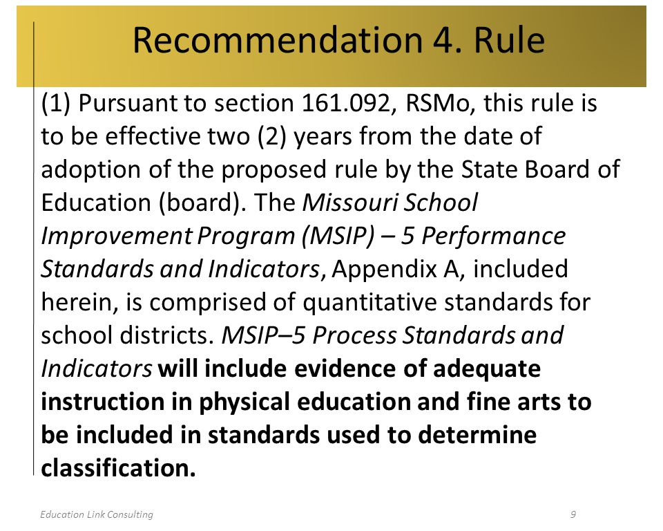 Education Link Consulting20 Next Steps  October 3 – November 2, public comment period  Rule goes in to effect in 2013  Inform other stakeholders  Respond during public comment period  Actively participate in Regional Advisory Committees  Scoring Guide  Resource and Process Standards  NCLB Waiver