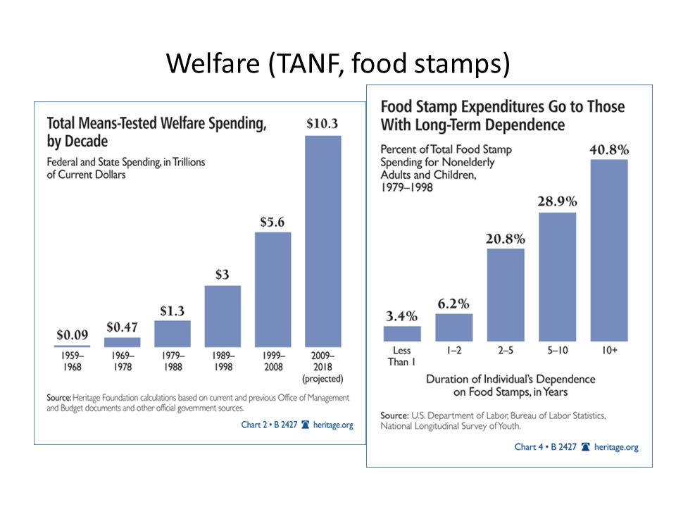 Welfare (TANF, food stamps)