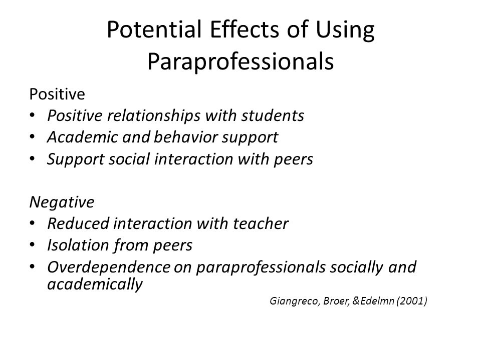 Potential Effects of Using Paraprofessionals Positive Positive relationships with students Academic and behavior support Support social interaction wi