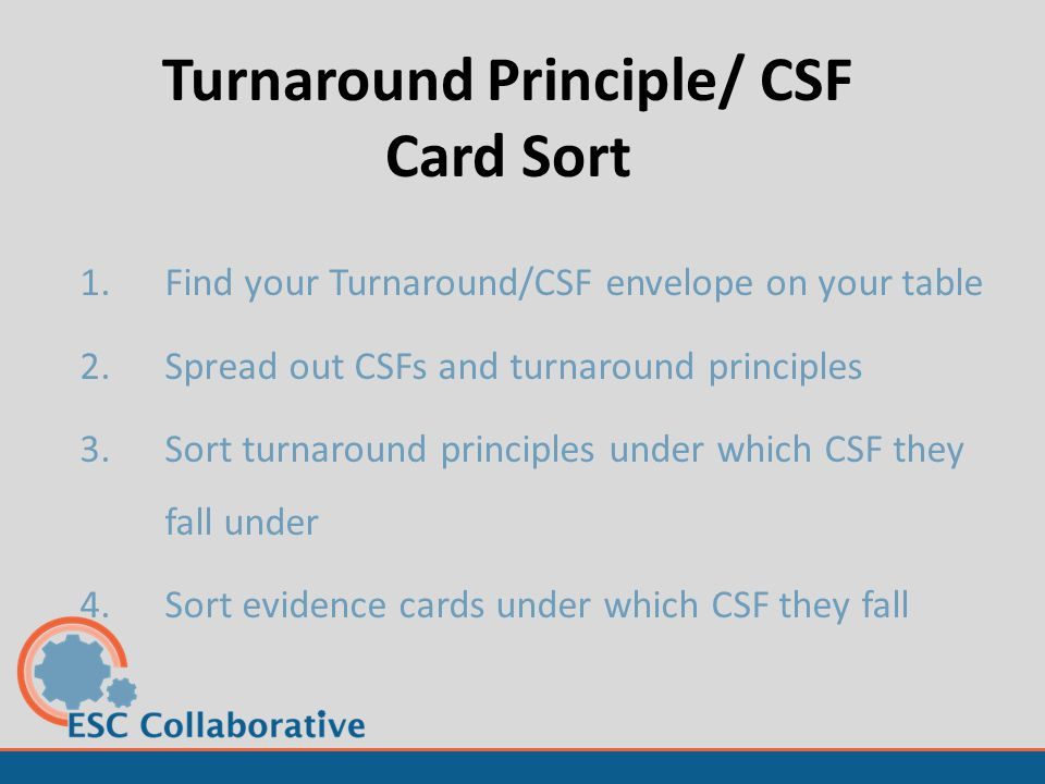 Turnaround Principle/ CSF Card Sort 1.Find your Turnaround/CSF envelope on your table 2.Spread out CSFs and turnaround principles 3.Sort turnaround pr