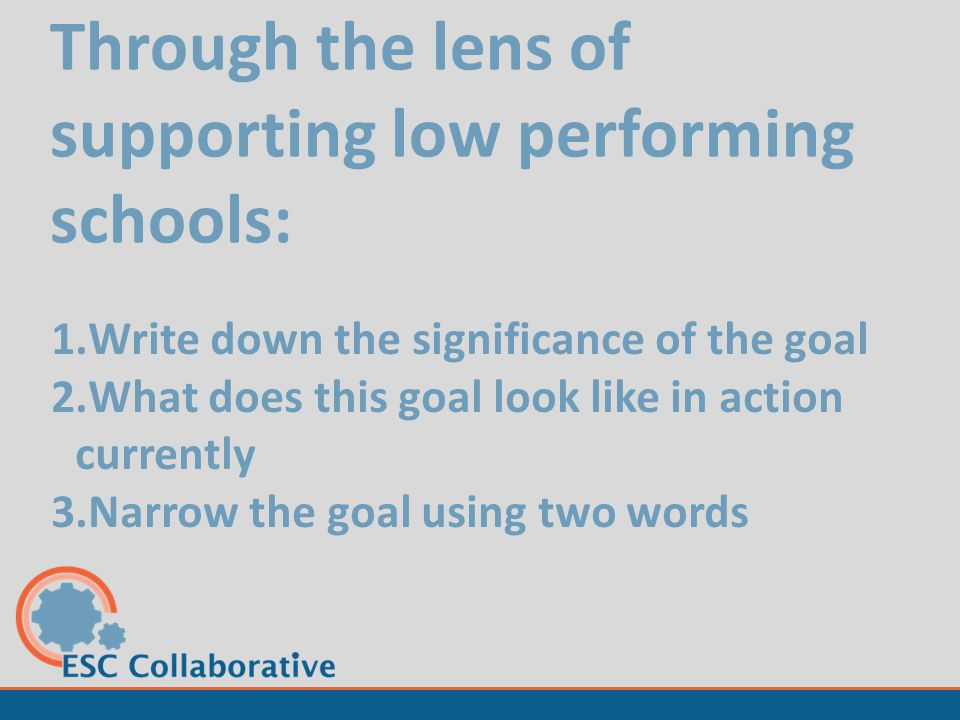 Through the lens of supporting low performing schools: 1.Write down the significance of the goal 2.What does this goal look like in action currently 3