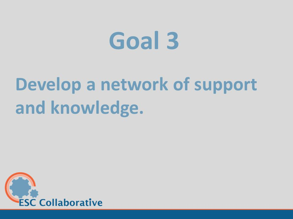 Goal 3 Develop a network of support and knowledge.