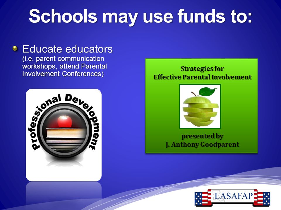 Schools may use funds to: Educate educators (i.e. parent communication workshops, attend Parental Involvement Conferences) Strategies for Effective Pa
