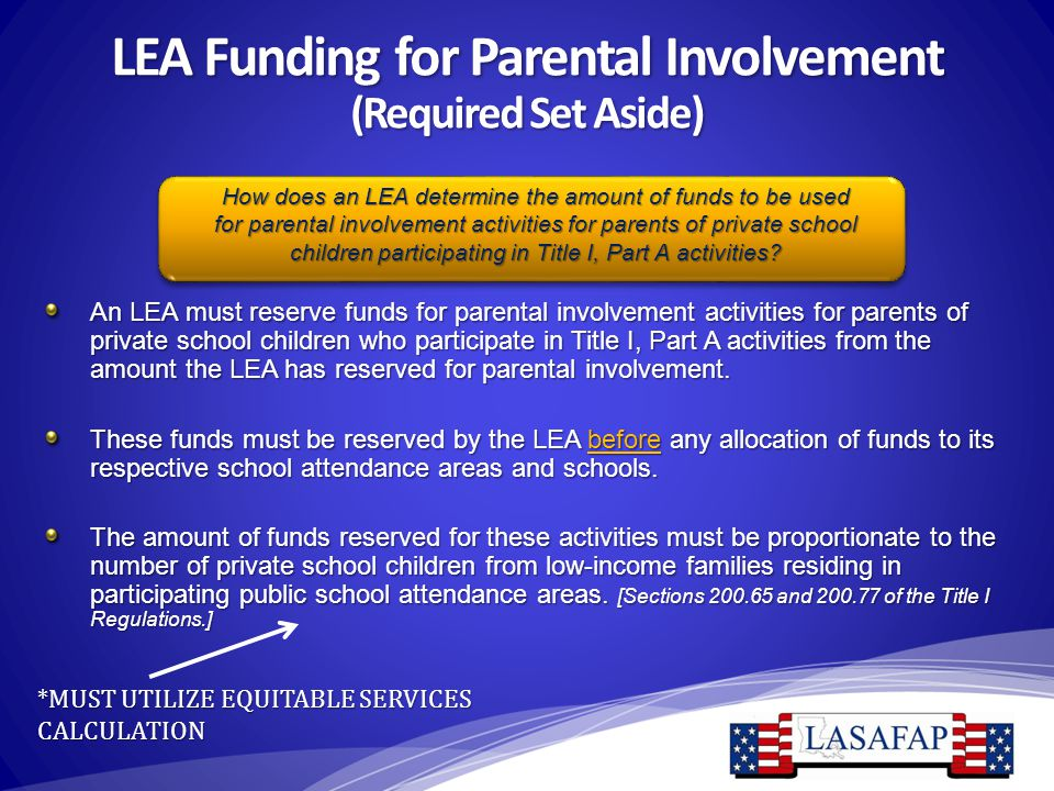LEA Funding for Parental Involvement (Required Set Aside) An LEA must reserve funds for parental involvement activities for parents of private school