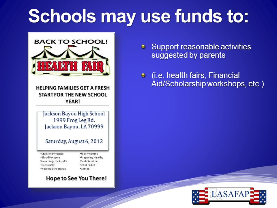 Schools may use funds to: Support reasonable activities suggested by parents (i.e. health fairs, Financial Aid/Scholarship workshops, etc.) Jackson Ba