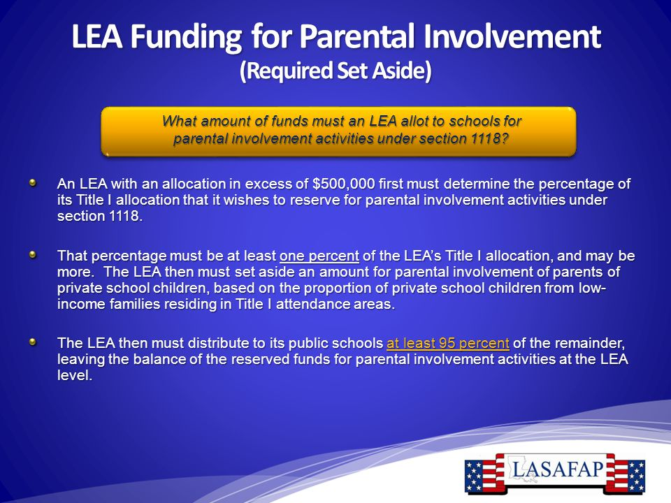 LEA Funding for Parental Involvement (Required Set Aside) An LEA with an allocation in excess of $500,000 first must determine the percentage of its T