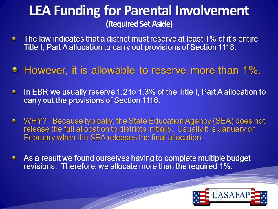 LEA Funding for Parental Involvement (Required Set Aside) The law indicates that a district must reserve at least 1% of it's entire Title I, Part A al