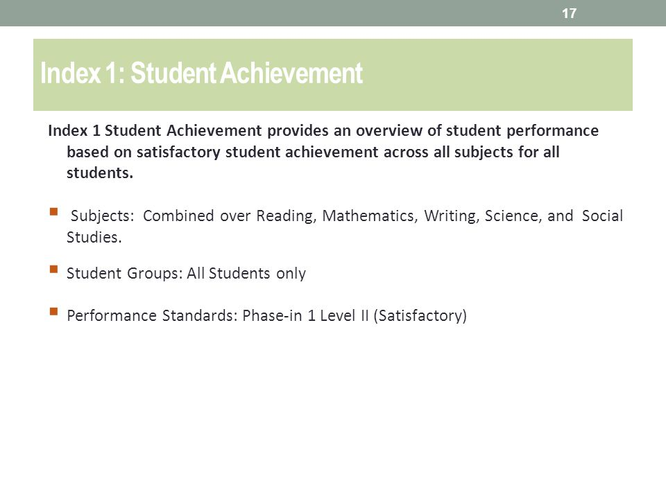 Index 1: Student Achievement Index 1 Student Achievement provides an overview of student performance based on satisfactory student achievement across all subjects for all students.