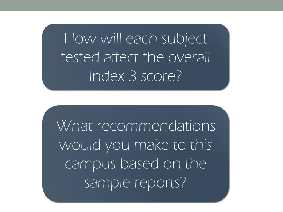 How will each subject tested affect the overall Index 3 score.