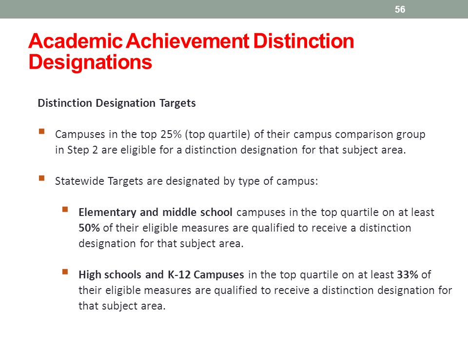 Distinction Designation Targets  Campuses in the top 25% (top quartile) of their campus comparison group in Step 2 are eligible for a distinction designation for that subject area.