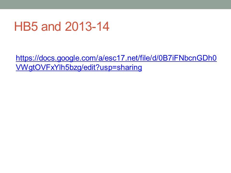 HB5 and 2013-14 https://docs.google.com/a/esc17.net/file/d/0B7iFNbcnGDh0 VWgtOVFxYlh5bzg/edit usp=sharing