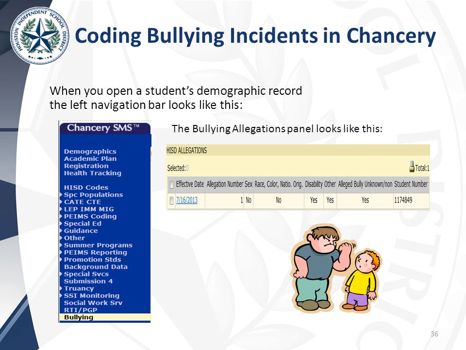 When you open a student's demographic record the left navigation bar looks like this: Coding Bullying Incidents in Chancery 36 The Bullying Allegations panel looks like this: