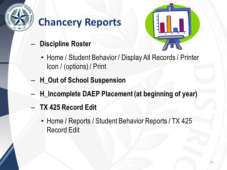 – Discipline Roster Home / Student Behavior / Display All Records / Printer Icon / (options) / Print – H_Out of School Suspension – H_Incomplete DAEP Placement (at beginning of year) – TX 425 Record Edit Home / Reports / Student Behavior Reports / TX 425 Record Edit 39 Chancery Reports