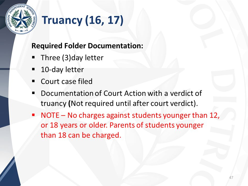 Required Folder Documentation:  Three (3)day letter  10-day letter  Court case filed  Documentation of Court Action with a verdict of truancy (Not required until after court verdict).