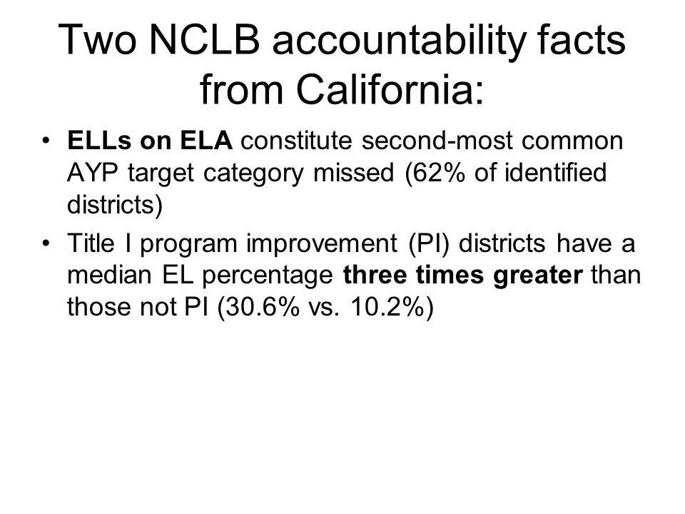 Two NCLB accountability facts from California: ELLs on ELA constitute second-most common AYP target category missed (62% of identified districts) Title I program improvement (PI) districts have a median EL percentage three times greater than those not PI (30.6% vs.