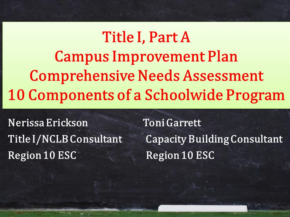 Title I, Part A Campus Improvement Plan Comprehensive Needs Assessment 10 Components of a Schoolwide Program Nerissa Erickson Toni Garrett Title I/NCLB Consultant Capacity Building Consultant Region 10 ESC