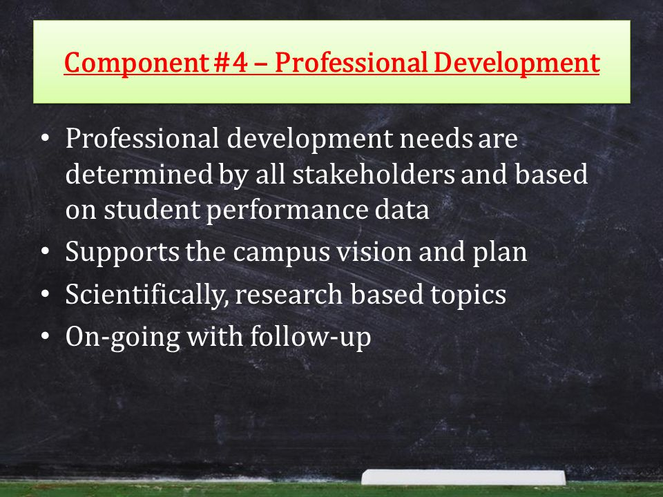 Component #4 – Professional Development Professional development needs are determined by all stakeholders and based on student performance data Supports the campus vision and plan Scientifically, research based topics On-going with follow-up