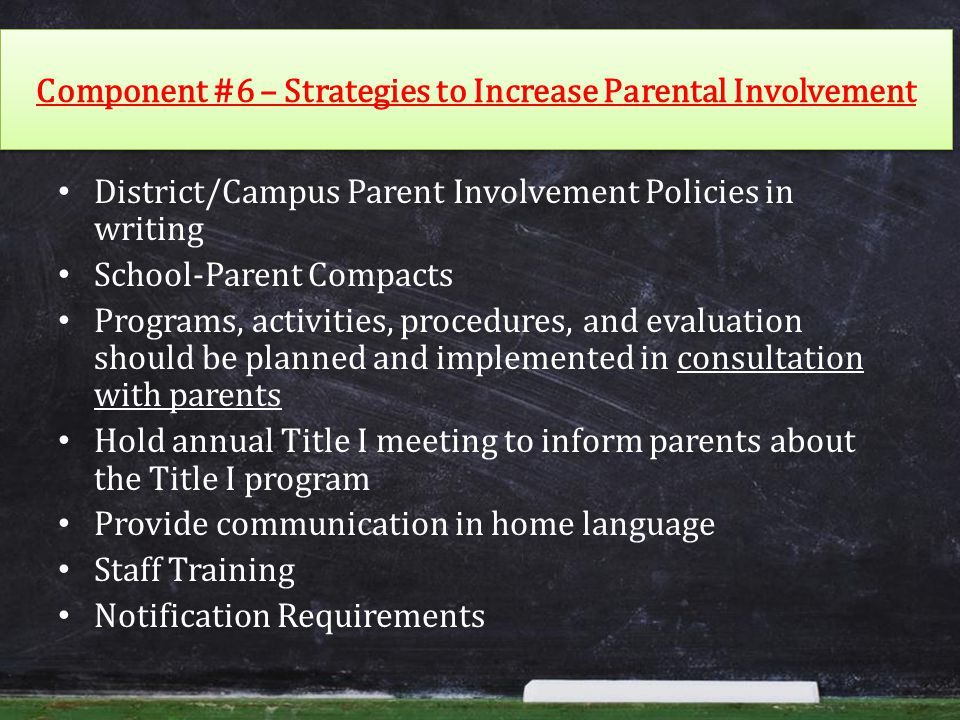 Component #6 – Strategies to Increase Parental Involvement District/Campus Parent Involvement Policies in writing School-Parent Compacts Programs, activities, procedures, and evaluation should be planned and implemented in consultation with parents Hold annual Title I meeting to inform parents about the Title I program Provide communication in home language Staff Training Notification Requirements