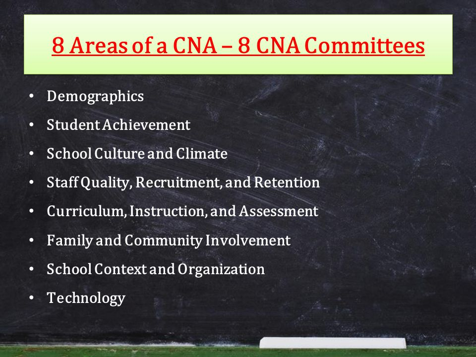 8 Areas of a CNA – 8 CNA Committees Demographics Student Achievement School Culture and Climate Staff Quality, Recruitment, and Retention Curriculum, Instruction, and Assessment Family and Community Involvement School Context and Organization Technology