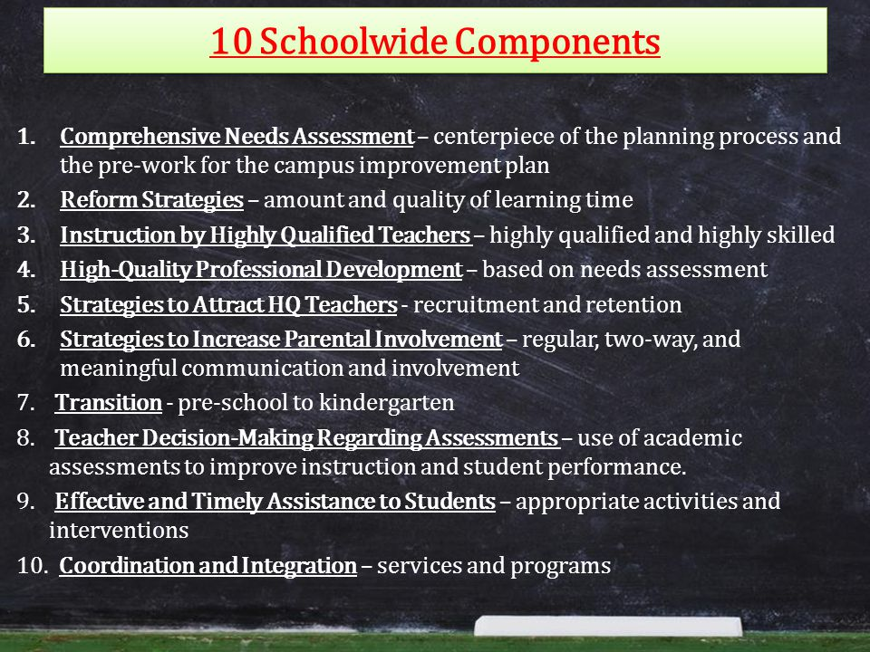 10 Schoolwide Components 1.Comprehensive Needs Assessment – centerpiece of the planning process and the pre-work for the campus improvement plan 2.Reform Strategies – amount and quality of learning time 3.Instruction by Highly Qualified Teachers – highly qualified and highly skilled 4.High-Quality Professional Development – based on needs assessment 5.Strategies to Attract HQ Teachers - recruitment and retention 6.Strategies to Increase Parental Involvement – regular, two-way, and meaningful communication and involvement 7.