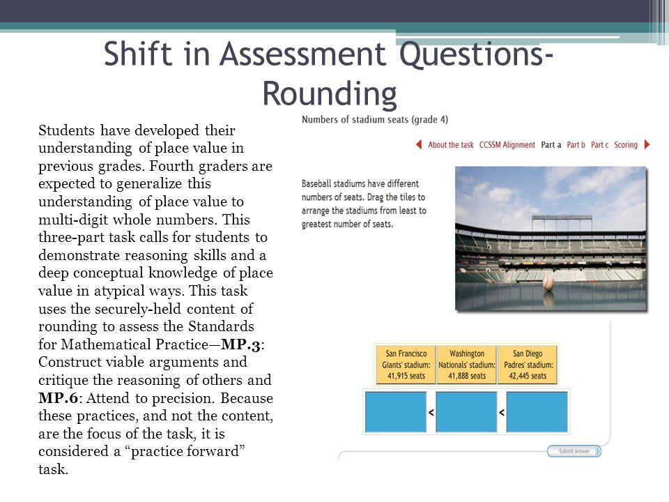 Shift in Assessment Questions- Rounding Students have developed their understanding of place value in previous grades.