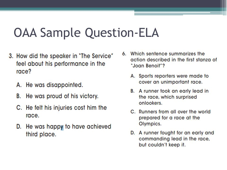 OAA Sample Question-ELA