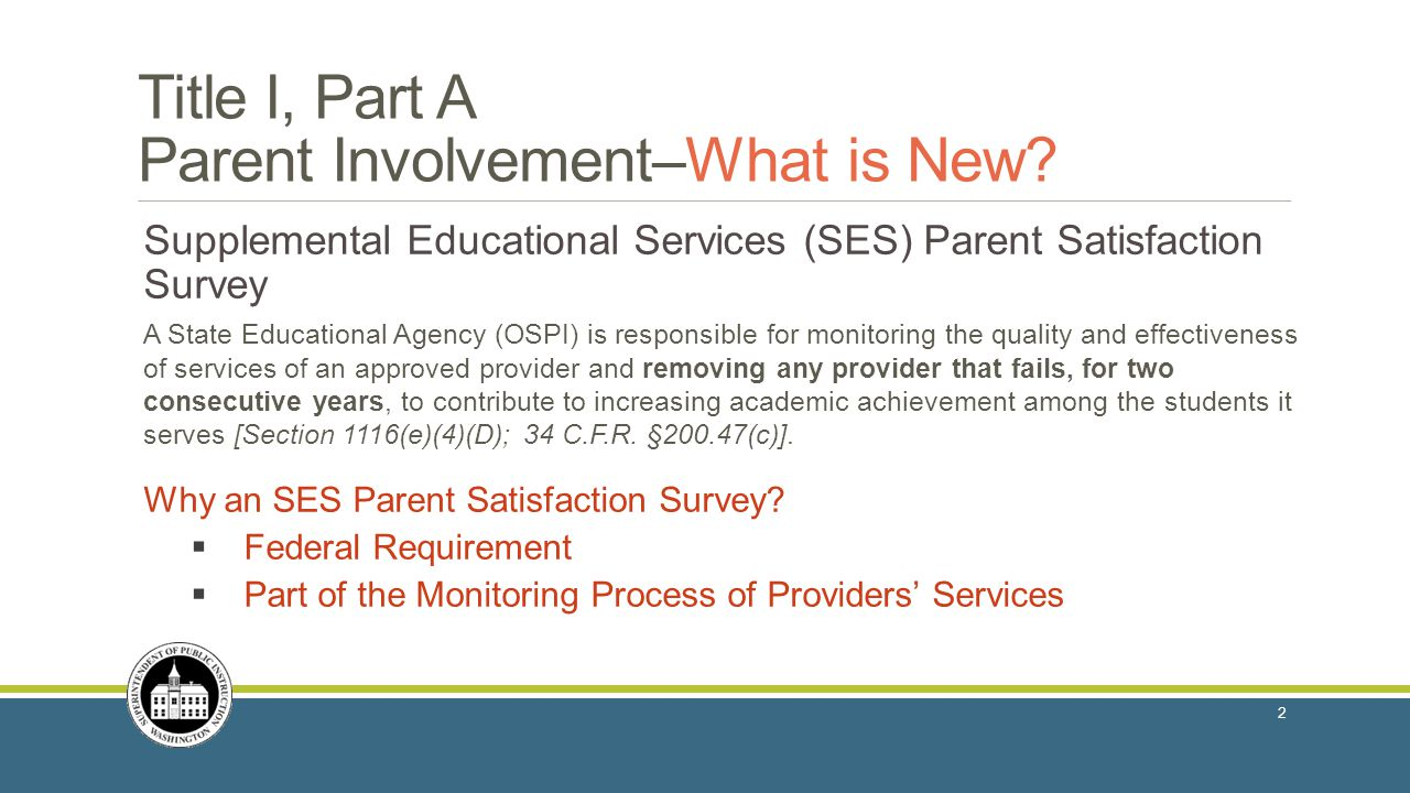 Title I, Part A Parent Involvement–What is New.