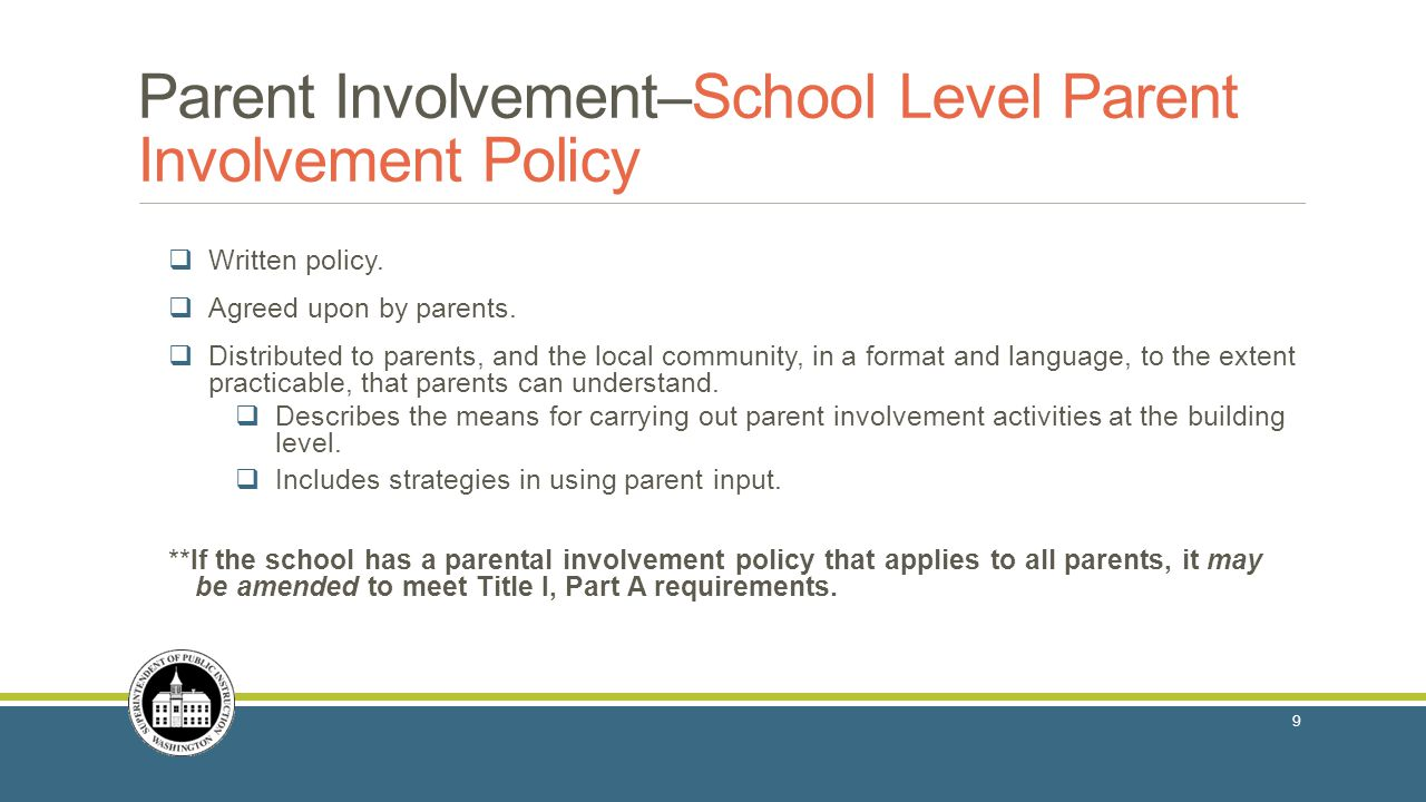  Written policy.  Agreed upon by parents.