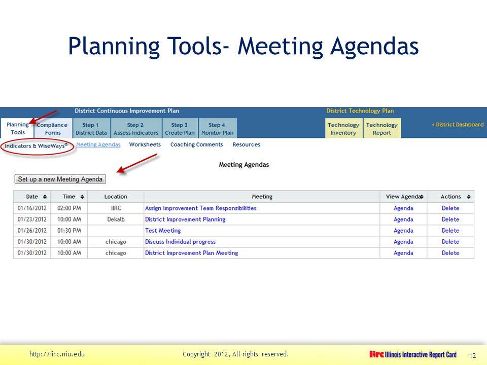 Planning Tools- Meeting Agendas http://iirc.niu.edu Copyright 2012, All rights reserved. 12