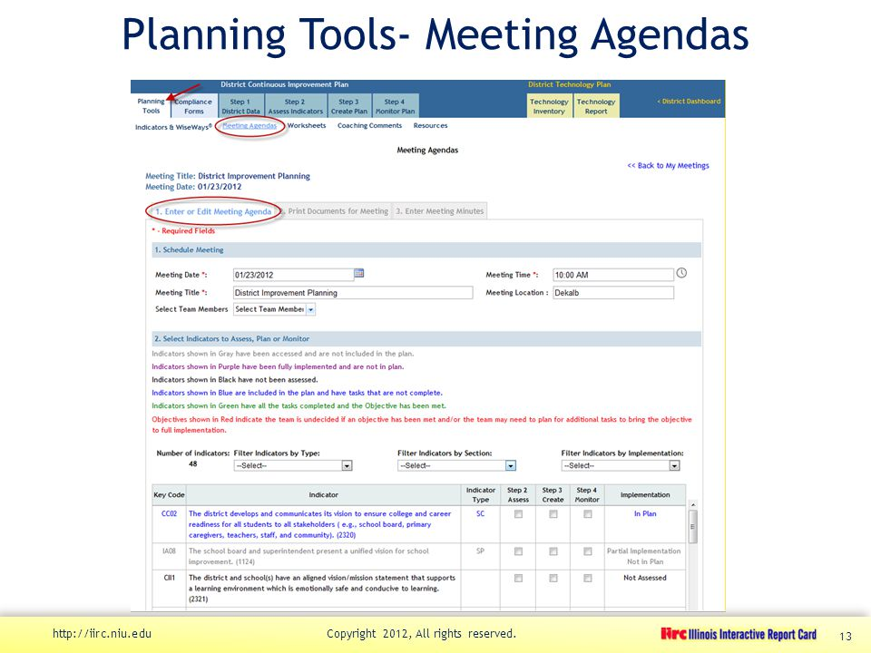 Planning Tools- Meeting Agendas http://iirc.niu.edu Copyright 2012, All rights reserved. 13